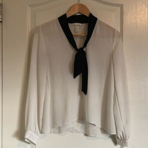 H&M office blouse with front tie